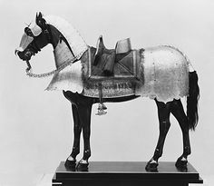 The horse armor is covered with etched ornament that includes undulating foliage, mythological creatures, winged putti, and heroes from biblical and classical history, such as David and Goliath and Marcus Curtius. The exuberant sketchlike quality of the etching and the preference for overall decoration suggest an origin in Brescia, the second most important armor-producing center in northern Italy after Milan. A good horse was very valuable and worth protecting.