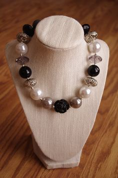 Silver, black, and white chunky beaded necklace