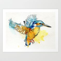 Kingfisher Art Print by Abby Diamond - $17.00 - water color tattoo something I want