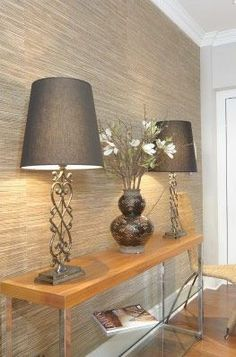 Textured wallpaper accent wall entryway foyers ideas for 2019 Feature Wall Bedroom, Accent Walls In Living Room, Living Room Decor, Feature Walls, Wallpaper Accent Wall Bathroom, Hallway Wallpaper, Bedroom Wallpaper, Wallpaper For Living Room, Livingroom Wallpaper Ideas