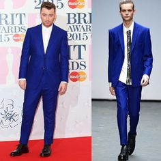 """Massive shout out to @caselyhayfordlondon for dressing me yesterday. What a lovely talented human xx"" - Sam Smith at Brits 2015"