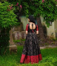 These Ethnic Long Dresses Will Give The Most Elegant Looks!! • Keep Me Stylish Dress Neck Designs, Stylish Dress Designs, Bridal Blouse Designs, Designs For Dresses, Fancy Blouse Designs, Stylish Dresses, Long Gown Dress, Saree Dress, Long Dresses