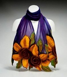 Amazon.com: LeBeau Scarves in Purple Sunflower Scarf: Clothing