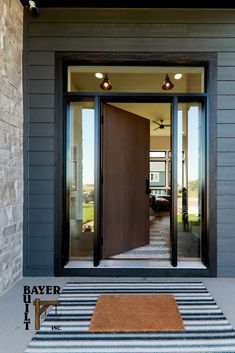 """Does your front door say, """"Welcome,""""...it should and ideally, it should also be representative of your home's style. Let us help you find a door that inspires. Cottage Front Doors, Modern Door, Modern Times, Exterior Doors, Woodworking, House Styles, Gallery, Building, Inspiration"""