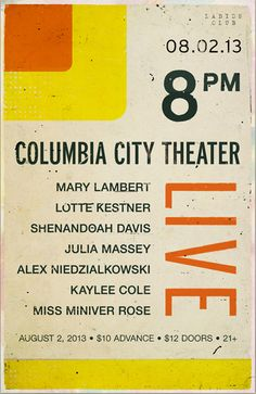 show poster LIVE at for Young Moderns Jesse Thomas, Mary Lambert, Columbia City, Typography, Posters, Live, Modern, Design, Poster