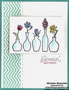 Handmade card by Alayne Kerbert using Stampin' Up! products - Vivid Vases single-image stamp, Bloomin' Marvelous Set, 2013-2015 In Colors Backgrounds Designer Series Paper Stack, Blender Pens, and Needlepoint Border Embossing Folders.