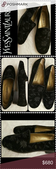 Yves Saint Laurent Leather Loafers NEW YSL Designer Shoes In Rare Black Velvet Suede with Embroidered Floral Pattern, Perfect for Any Classy Lady! Sticker Tag From Saks Fifth still On!  Made in Italy, Leather Insole with Saint Laurent Logo, Leather Outsole with Rubber Heel Pad on Stacked 1.5 inches Heel, An Iconic Brand Shoes to Have! Yves Saint Laurent Shoes Flats & Loafers