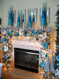 Switch up your color scheme with this blue mantle.