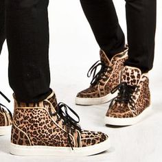 Shoes :: Unique Brushed Leopard Pattern High-Top Shoes - 83 - New and Stylish - Fast Mens Fashion - Mens Clothing - Product