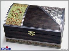 Caja decorada con servilletas y estaño.   www.manualidadespinacam.com #manualidades #pinacam #madera