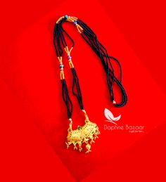 ME52, Daphne Handmade Golden Mangalsutra Necklace With Black Beads , Gift for Wife - Full View