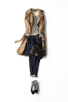 One of my favorite easy and classic outfits for spring and fall. Although I can't wear jeans to work. Classic Outfits, Casual Outfits, Gamine Outfits, Dress Casual, Mode Outfits, Fashion Outfits, Fashion Hair, Mode Simple, Inspiration Mode