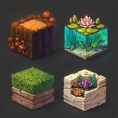 materials study on cubes) Digital Painting Tutorials, Digital Art Tutorial, Art Tutorials, Digital Paintings, Drawing Tutorials, Drawing Tips, Isometric Art, Isometric Design, Concept Art Tutorial