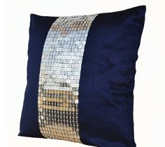 Amore Beaute Handmade Throw Pillow Covers - Navy Blue Silver Color Block in Sequin Bead Detail Cushion Covers - Sequin Bead Pillow Covers - Blue Pillow Covers - Gift Pillow Covers - Sequin Pillow Cover - Cushion Covers - Blue Sham - Silver Pillow Covers - Navy Blue Pillows, Orange Throw Pillows, Silver Pillows, Blue Couches, Decorative Throw Pillows, Accent Pillows, Metallic Cushions, Blue Cushion Covers, Silver Bedroom