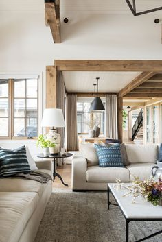 SM Ranch House: The Living Room - - A big, cozy, rustic living space! Home Living Room, Living Room Designs, Living Room Furniture, Living Room Decor, Living Spaces, Bedroom Decor, Small Living, Blue Living Room Chairs, Modern Living