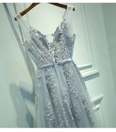 Long Prom Dress,Appliques Beaded Prom Dresses, V Neck Homecoming