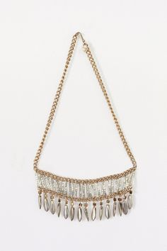 Fringe Beaded bib necklace.
