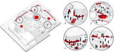 Amazing activation of circulation & Learning nucleus'! Plan Concept Architecture, Architecture Presentation Board, Architecture Collage, Space Architecture, Bubble Diagram, Urban Design Diagram, Public Space Design, Japanese Graphic Design, Signage Design