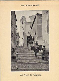 Antique print : Villefranche sur-Mer France / gravure Rue de l Eglise 1900