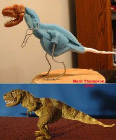 A Dinosaur Creation. In the image there has been a frame made using Wire and Foam. Then there are additional parts which have been added such as paint to create detail on the puppet.