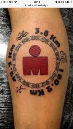 M Tattoos, Body Art Tattoos, Ironman Triathlon Tattoo, Marathon Tattoo, Cycling Tattoo, Symbolic Tattoos, Tattoo Designs, Tattoo Ideas, Tattoo Inspiration