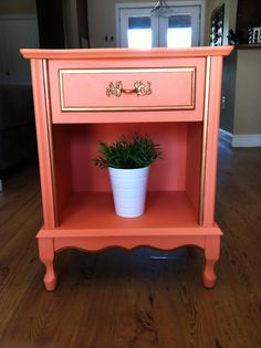 Peach and Gold Nightstand / end table. $160.00, via Etsy.