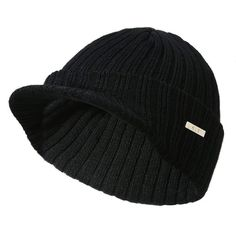 Trumpet Unisex Cuffed Plain Skull Knitted Hat Beanie Cap Men Women Black