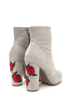 Rad Roses Chunky Embroidered Booties LTGREY - GoJane.com