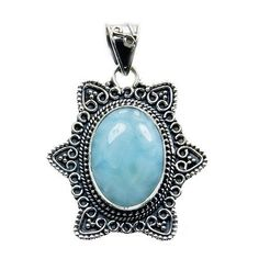 'Divine Beauty' Sterling Silver Natural Dominican Larimar Pendant  Price : $54.95 http://www.silverplazajewelry.com/Sterling-Silver-Natural-Dominican-Larimar/dp/B00KIRVZXG