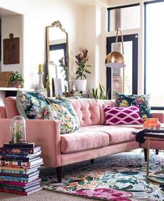 Bohemian Style Home Decors with Latest Designs Boho Living Room Bohemian Decors Designs Home Latest Style Room Inspiration, Interior Inspiration, Interior Ideas, Bohemian Style Home, Boho Chic, Bohemian Living, Glam Colorful Living Room, Pink Living Rooms, Mod Living Room
