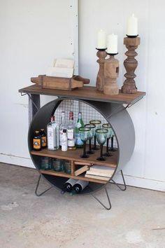 Modern rustic wine rack - bar cabinet made of wood and metal Wine Rack Bar, Rustic Wine Racks, Metal Storage Cabinets, Wine Cabinets, Bar Furniture, Rustic Furniture, Modern Furniture, Recycled Furniture, Furniture Online