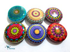 6 handmade mandala beads, corolful and unique!!   Double sided beads.  The beads are made by me with polymer clay and image transfer, they have been