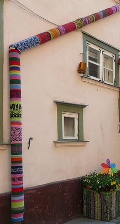 "klausandalfred: "" Knitted drain pipe covers? YESSS please! Found on knithacker.com Wonder how our landlord would feel about this? I'm on it… Photo by Ger Boam """