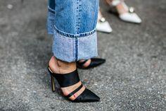 Street style à la Fashion Week printemps-été 2017 de New York : jeans + talons noirs