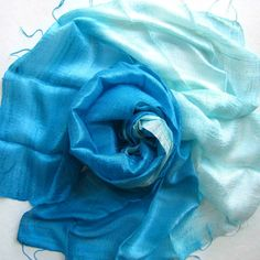 Blue Silk Shawl Handwoven Pure Raw Silk by PlanetEarthHandmade