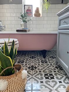 10 Ways to Makeover Your Bathroom on a Budget, including adding plants, replacing flooring, painting your bath and wallpapering - Melanie Jade Design Rustic Bathroom Shelves, Diy Bathroom, Rustic Bathroom Vanities, Bathroom Colors, Bathroom Flooring, Bathroom Ideas, Family Bathroom, Small Bathroom With Bath, Pink Bathroom Tiles