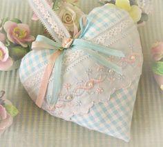 Valentine Heart Pillow 6 X 6 Door Hanger Aqua by CharlotteStyle, $22.00