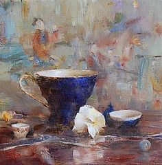 Arrangement with Blue Teacup by Laura Robb Oil ~ 10 x 10
