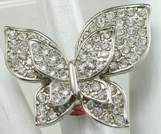 Rhinestone Butterfly Ring/Silver/Spring/Summer Jewelry/Statement Ring/Gift For Her/Adjustable/Under 20 USD
