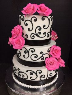 The Exclusive Cake Shop - San Antonio Cakes - Three-tier wedding cake with black piped design and hot pink flowers