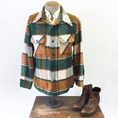 Flannel Shirt Jacket Heavy Green & Orange Plaid Men's Vintage Hunting / Fishing / Lumberjack J Plaid Flannel, Flannel Shirt, Shirt Jacket, Green And Orange, Vintage Men, Hunting, Hoodies, 1970s, Sweaters
