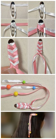 #Beebeecraft #tutorials on How to Make Lovely Pink #Ribbon #HairClips with Acrylic Beads for #Girls