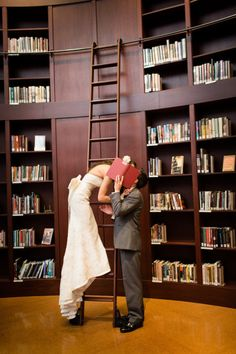 Playful library wedding photo / Photography by maggiefortson.com.  Agh!  LOVE this.