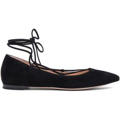 Gianvito Rossi Lace Up Flats - Black ($720) ❤ liked on Polyvore featuring shoes, flats, kirna zabete, black pointy toe flats, black shoes, black lace up shoes, black pointed toe flats and lace up pointed toe flats