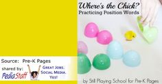 Positional Descriptive Language with Plastic Easter Eggs- pinned by @PediaStaff – Please Visit ht.ly/63sNtfor all our pediatric therapy pins