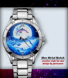 Metal Watches Purple Night Dolphins #4 Men's Sport Watch | purecases - Jewelry on ArtFire