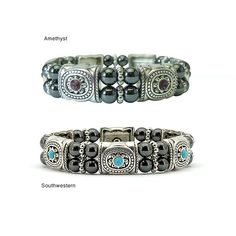 <li>Look beautiful while reaping the benefits of magnetic hematite with this fashionable bracelet<li>Bracelet emits magnetic energy from each black hematite Tuchi pearl<li>Holistic jewelry features Concha-style silver half barrels and turquoise crystal