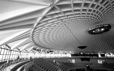 Pier-Luigi Nervi - Mala sportska dvorana, 1960. - nema stupova iznutra, napregnutu konstrukciju na vrhu podupiru mali kontrafori, gornji dio štiti od vremenskih uvjeta