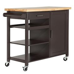 Homegear Utility Kitchen Storage Cart Island with Rubberwood Cutting Block Brown A great add-on for your kitchen, these kitchen carts provide crucial extra Kitchen Carts On Wheels, Kitchen Trolley Cart, Kitchen Storage Cart, Kitchen Island Cart, Kitchen Islands, Storage Baskets, Mobile Kitchen Island, Compact Kitchen, Kitchen Furniture