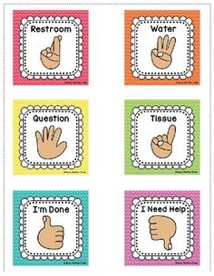 EDITABLE Hand Signal Signs, Classroom Management, Rainbow Chevron